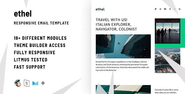 Ethel– Responsive Email + StampReady Builder        TFx Aqissiaq Page