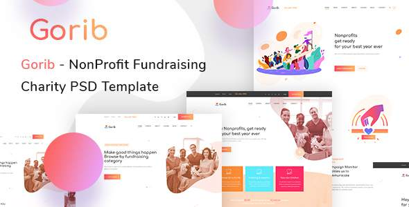 Gorib - Creative NonProfit Fundraising Charity PSD Template        TFx Crofton Sullivan