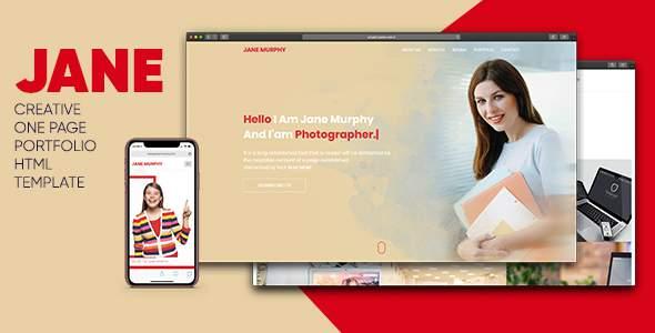 Jane Creative One Page Portfolio HTML Template        TFx David Katsuo