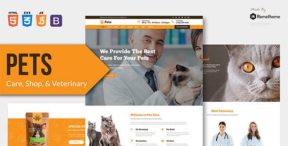 PETS - Pet Care, Shop, and Veterinary HTML Template        TFx Tylor Clem
