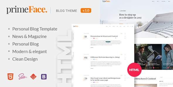 PrimeFace - HTML Responsive Blog and eCommerce Template        TFx Eduard Denny