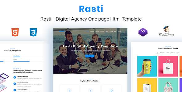 Rasti - Digital Agency One Page HTML Template        TFx Riku Conner