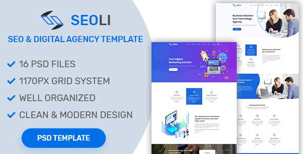 SEOLI- SEO and Digital Agency PSD Template        TFx Sloan Corwin