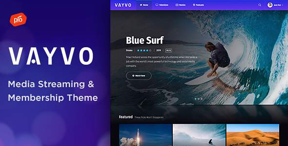Vayvo - Media Streaming & Membership Theme        TFx Rhett Thad