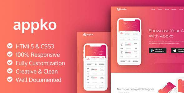 Appko - HTML5 App Landing Page        TFx Cosmo Shaw