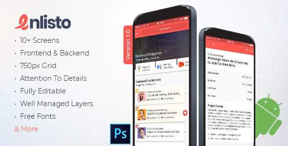 Enlisto - Mobile App PSD Template        TFx Hiroto Reid