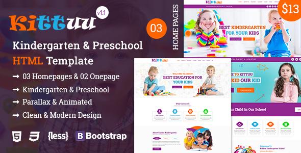 Kittuu - Kindergarten & Preschool Bootstrap 4 HTML Template        TFx Daisuke Kiyoshi