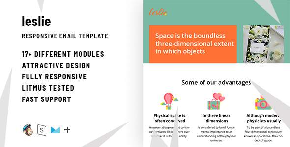 Leslie – Responsive HTML Email + StampReady, MailChimp & CampaignMonitor Compatible Files        TFx Isamu Beauregard