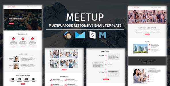 MEETUP - Events Responsive Email Template With Stampready Builder & Mailchimp Access        TFx Clem Warren