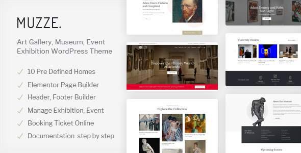Muzze - Museum Art Gallery Exhibition WordPress Theme        TFx Baldric Gray