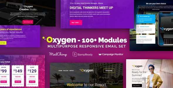 Oxygen - Responsive Email with 100+ Modules + MailChimp Editor + StampReady + Online Builder        TFx Carol Putra