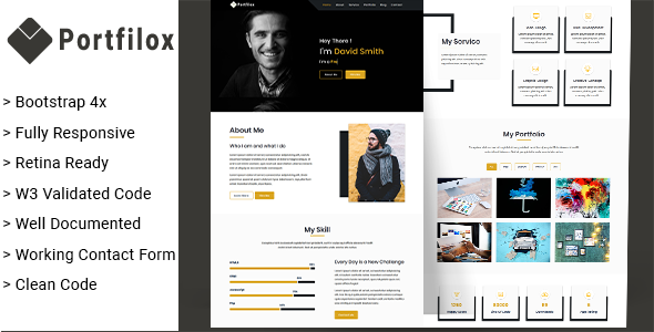 PortFilox - Responsive Portfolio Template        TFx Kev Angel