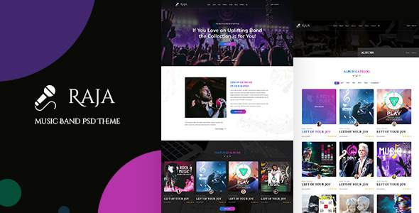 Raja | Music Band PSD Template        TFx Richard Devin