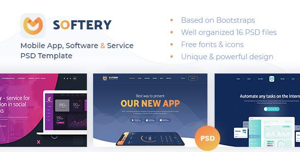 Softery -  Mobile App, Software & Service PSD Template        TFx Terence Christmas