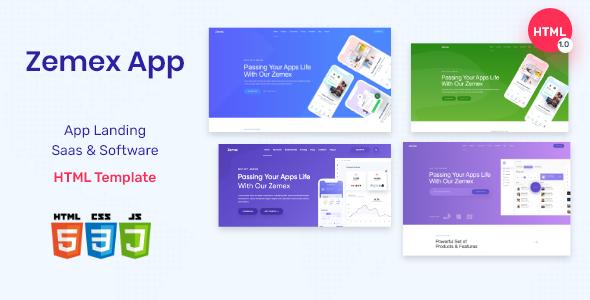 Zemex App -  App Landing, Saas & Software landing Template        TFx Braxton Dwayne