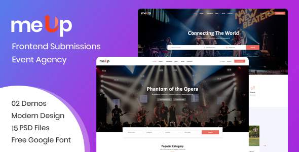 meUp – Frontend Submission Event, Agency PSD Template        TFx Emmanuel Payton