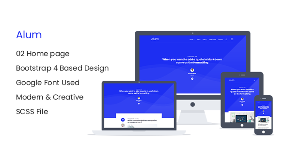 Alum - Responsive HTML Blog Site Template        TFx Shiro Osmond