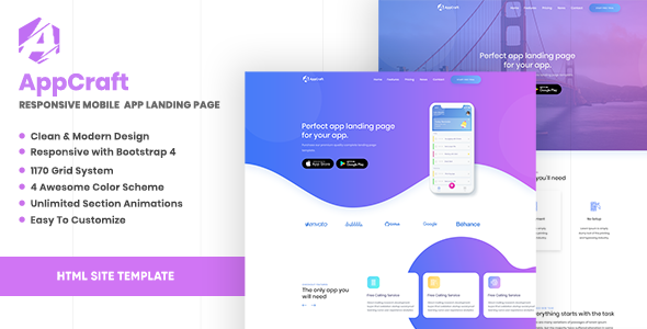 AppCraft – Creative Template for Mobile App Landing Page        TFx Linwood Derek