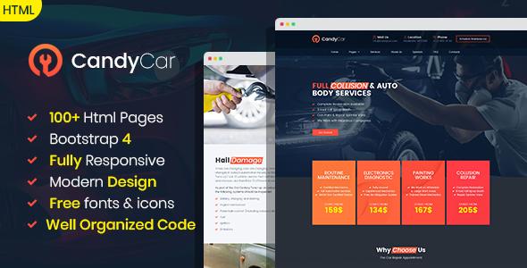 CandyCar - Auto service HTML template        TFx Piers Hayden
