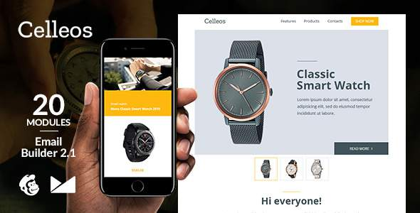 Celleos Responsive Email Template + Online Emailbuilder 2.1        TFx Abe Chet
