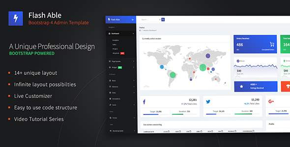 Flash Able Bootstrap 4 Admin Template & UI Kit        TFx Goyathlay Shane