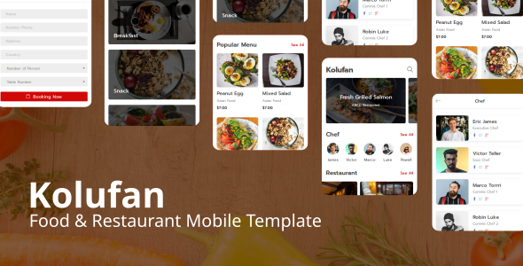 Kolufan – Food and Restaurant Mobile Template        TFx Sonny Sloan