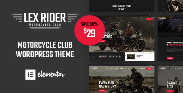 LexRider – Motorcycle Club WordPress Theme For Biker Lovers        TFx Robin Vespasian