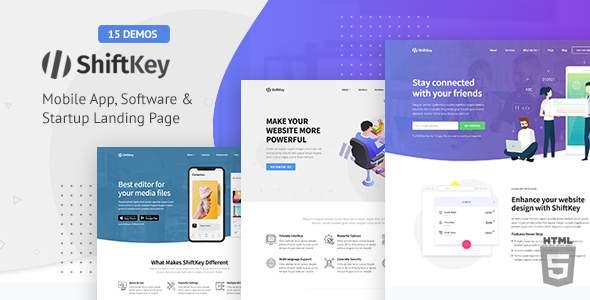 ShiftKey – Software & Startup Premium Landing Page Template        TFx Emerson Aubrey