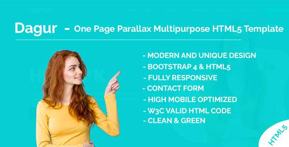 Dagur – One Page Parallax Multipurpose HTML5 Template        TFx Christmas Bradley