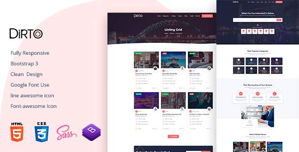 Dirto - Directory & Listing HTML Template        TFx Ptolemy Granville