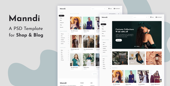 Manndi – A PSD Template For Shop & Blog        TFx Alexander Cordell