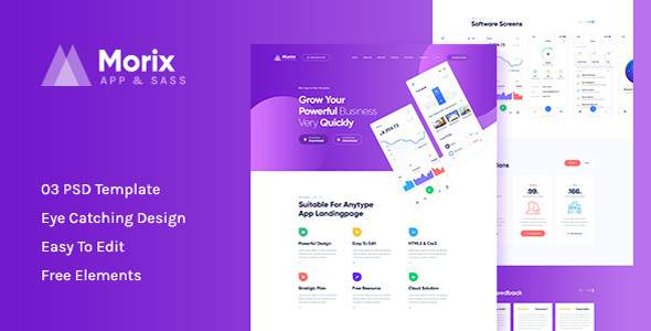 Morix - Sass & App Landing PSD Template        TFx Emory Radcliff