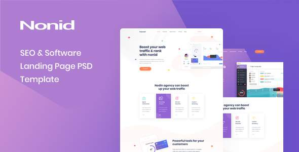 Nonid - SEO & Software Landing Page PSD Template        TFx Bradley Mo
