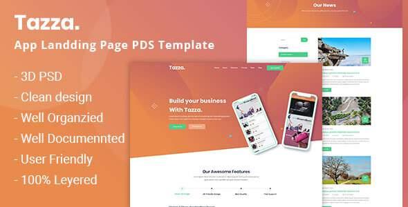 Tazza - App Landing Page PSD Template        TFx Yunuen Takehiko