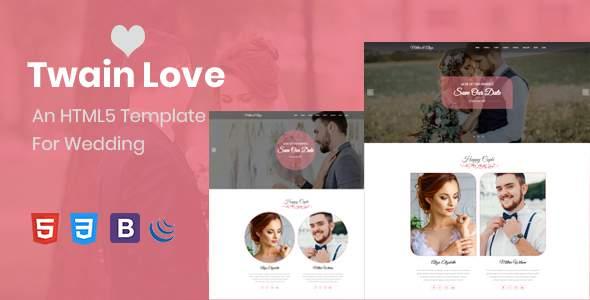 Twain Love - Responsive HTML5 Wedding Template        TFx Crawford Walker