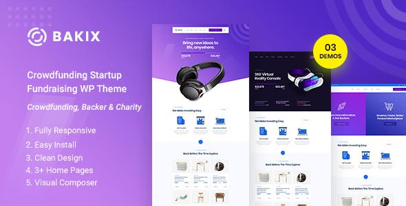 Bakix - Crowdfunding Startup Fundraising  WordPress Theme        TFx Jurou Thom