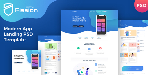 Fission - One Page App Landing Page PSD Template        TFx Syd Cordell