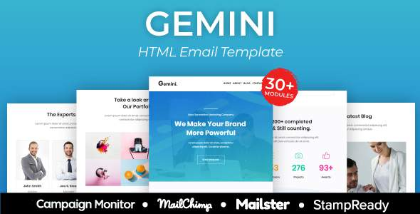 Gemini Agency - Multipurpose Responsive Email Template 30+ Modules -  Mailster & Mailchimp        TFx Cortney Emmerson