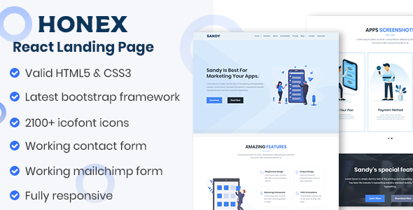 HONEX – Boostrsp 4 React Apps Landing Page        TFx Vance Jiro
