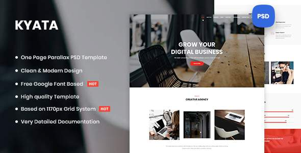 Kyata | One Page Parallax PSD Template        TFx Melville Ohiyesa