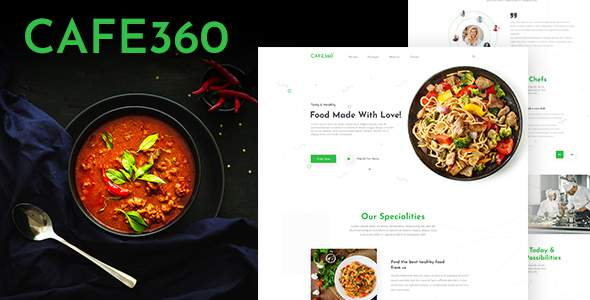 Cafe360   Restaurant One Page PSD Template        TFx Dom Bishop