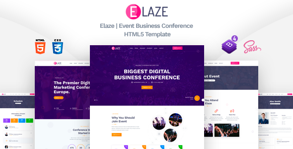 Elaze - Event Business Conference HTML5 Template        TFx Garegin Finlay