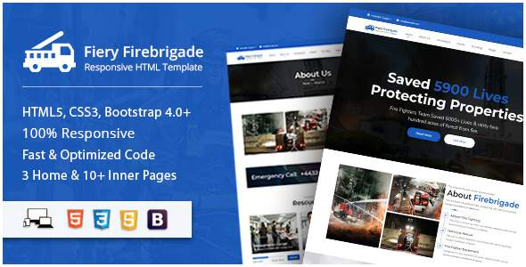 Fiery - Fire Brigade Responsive HTML Template        TFx Grover Cory