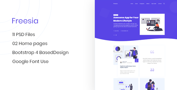 Freesia - Creative App Landing Page & Blog PSD Template        TFx Nolan Napoleon