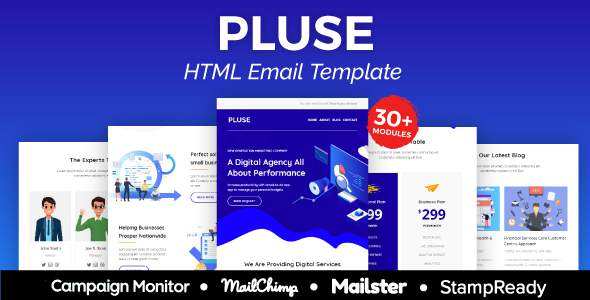 Pluse Agency – Multipurpose Responsive Email Template 30+ Modules –  Mailster & Mailchimp        TFx Leopold Iskandar
