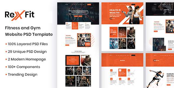 RexFit Fitness and Gym PSD Template        TFx Pearce Lamar