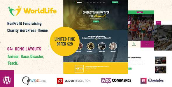 Worldlife – Crowdfunding & Charity WordPress theme        TFx Duane Delmar