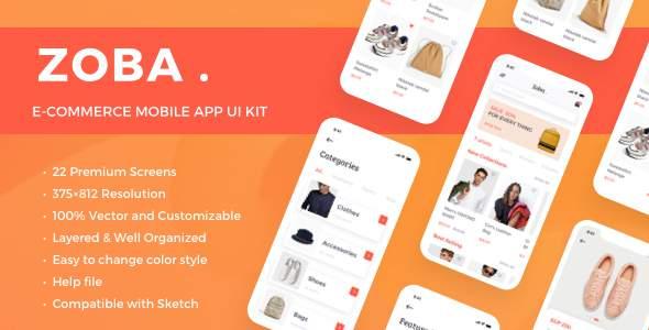 Zoba - E-Commerce Mobile App UI Kit        TFx Hayate Bima