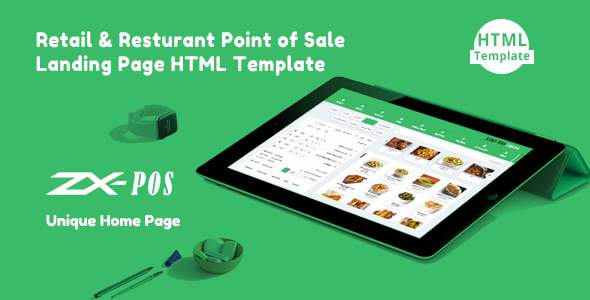 Zxpos - Retail & Restaurant Point of Sale Landing Page HTML Template        TFx Donny Francis