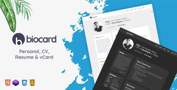 Biocard - Personal  CV  Resume amp vCard TFx